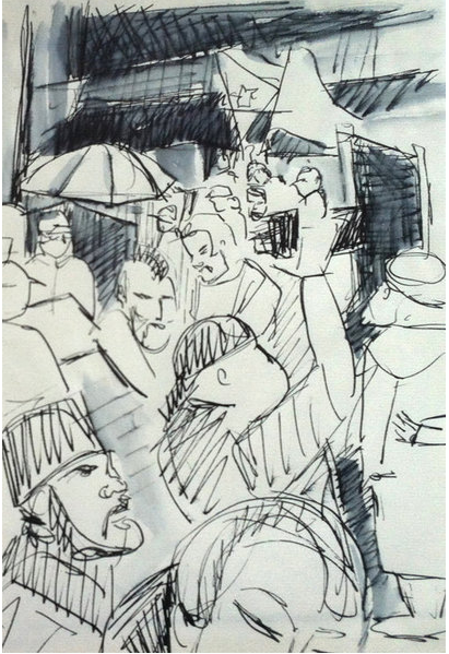 Occupy Wall Street Drawing by NY artist Marie Roberts