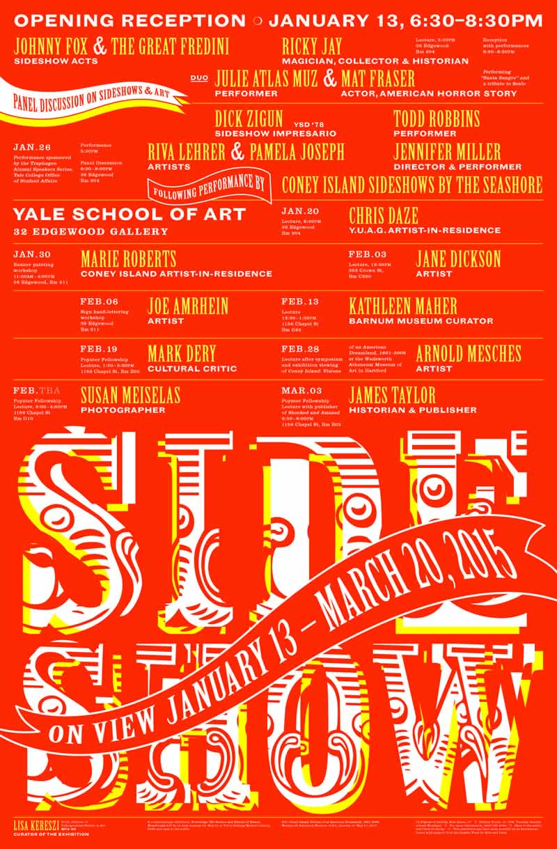Poster for Yale University's School of Art Gallery exhibit Side Show