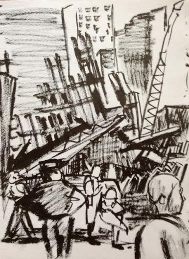the aftermath of 9/11 a drawing by Marie Roberts